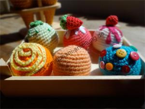 So sehen unsere Amigurumi-Eissorten aus.