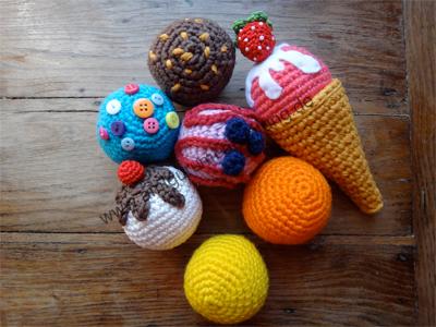 Viele gehäkelten Eissorten aus Baumwolle